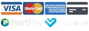 Credit Cards, Visa, MasterCard, Laybuy and PartPay Accepted Here